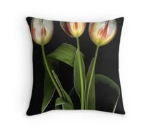 White Tulips. Red Stripes Throw Pillow