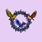 Birds On Purple Floral Wreath by SmilinEyes
