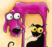 Stressie Cat and the pink dog by StressieCat