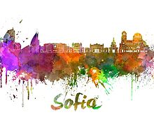 Sofia skyline in watercolor by paulrommer