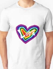 Cool Colorful Rainbow Colored Heart with Love Unisex T-Shirt
