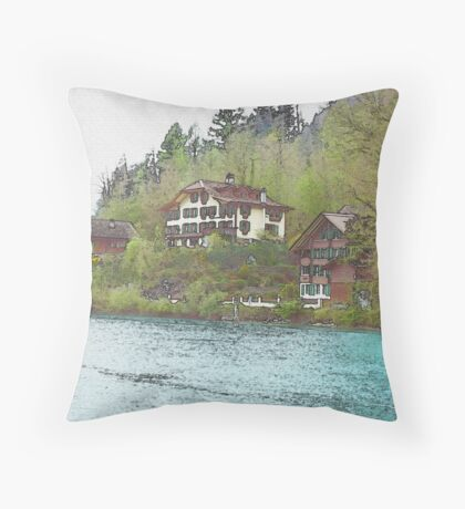 Soothing By The River (Watercolor) Throw Pillow