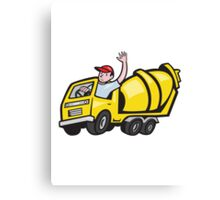 Construction Worker Driver Cement Mixer Truck  Canvas Print
