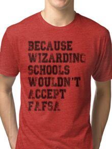 Wizarding Schools Really Need Better Financial Aid, Don't They? Tri-blend T-Shirt