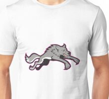 Gray Wolf Wild Dog Jumping Attacking Unisex T-Shirt