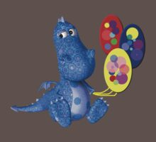 Cute Blue Dragon Colorful Balloons Baby Tee