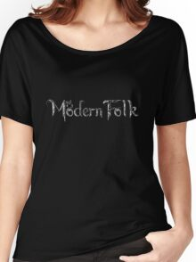 'Modern Folk' Black Women's Relaxed Fit T-Shirt