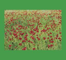 A Pasture Of Red Poppies and Remembrance Kids Tee