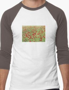 A Pasture Of Red Poppies and Remembrance Men's Baseball ¾ T-Shirt