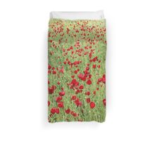 A Pasture Of Red Poppies and Remembrance Duvet Cover