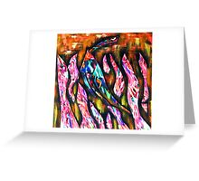 Fish hiding in pink fronds Greeting Card