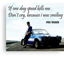 Paul Walker Fast Speed Killing Canvas Print