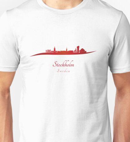 Stockholm skyline in red Unisex T-Shirt