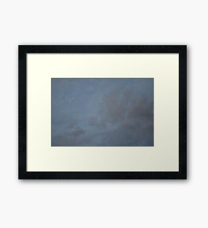 Dark Blue Sky And White Clouds Against Night Sky 1 Framed Print