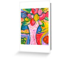 Fun Vase of Flowers and Fruit Greeting Card