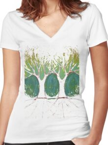Two Worlds Women's Fitted V-Neck T-Shirt