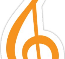 Orange treble clef Sticker