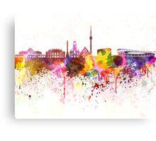 Stuttgart skyline in watercolor background Canvas Print