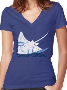 Blue Stingrays Women's Fitted V-Neck T-Shirt