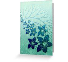Digital Blue Flowers Greeting Card Greeting Card