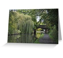 Green Canal Landscape Greeting Card