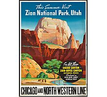 Vintage Travel Poster: Zion National Park Photographic Print