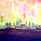 Neon shimmering Munich skyline at sunset  by artshop77