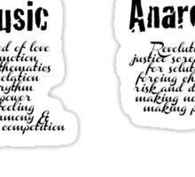 ALT La Vie Boheme B - Rent - Dance, Film, Music, Anarchy - White Sticker