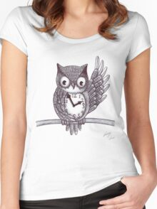 Vintage Owl. Women's Fitted Scoop T-Shirt