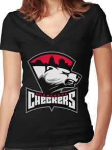 Charlotte Checkers Women's Fitted V-Neck T-Shirt