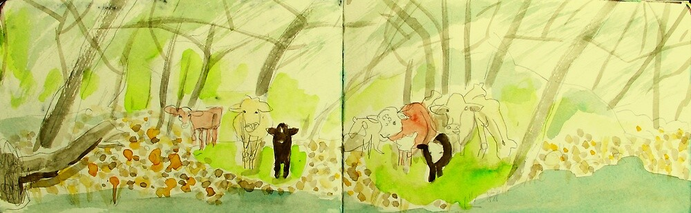 cows crossing a creek by donna malone