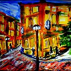 another oreilly original painting as evening falls on the last of day light  saving  arcata square main street USA by Timothy C O'Reilly