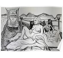 Life Drawing with Truck & Skeleton Poster
