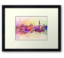 Taipei skyline in watercolor background Framed Print