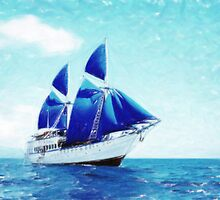 blue sail pastel by Adam Asar