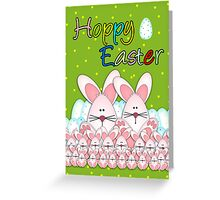Easter Card With Easter Bunnies And Eggs, Hoppy Easter Greeting Card