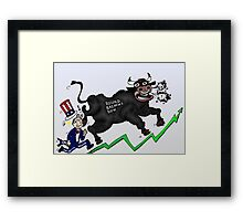 Wall Street Bull Tramples Uncle Sam Income Framed Print