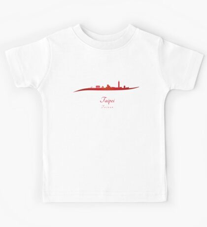 Taipei skyline in red Kids Tee