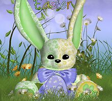 Easter Bunny Spring Greeting Card With Rabbit In The Grass by Moonlake