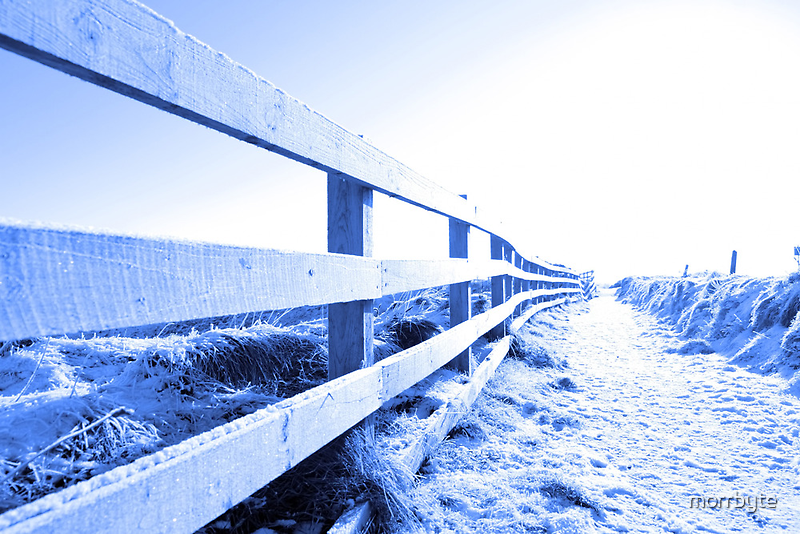 cold snow covered path on cliff fenced walk by morrbyte