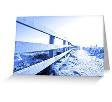 cold snow covered path on cliff fenced walk Greeting Card
