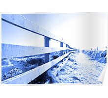 cold snow covered path on cliff fenced walk Poster