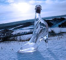 crystal glass high heels on blue snowy golf course by morrbyte