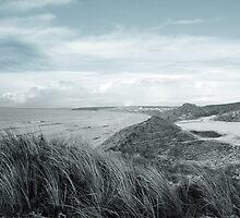 dark atlantic ocean beside a links golf course by morrbyte