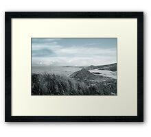 dark atlantic ocean beside a links golf course Framed Print