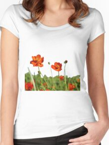 Red Cosmos Flower In A Meadow Isolated on White Women's Fitted Scoop T-Shirt
