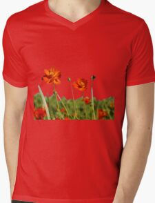 Red Cosmos Flower In A Meadow Isolated on White Mens V-Neck T-Shirt