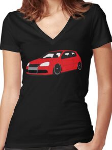 Red MKV .:R32 Graphic Women's Fitted V-Neck T-Shirt