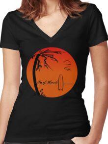 Surf Hard Women's Fitted V-Neck T-Shirt