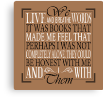 We Live and Breathe Words (Brown) Canvas Print
